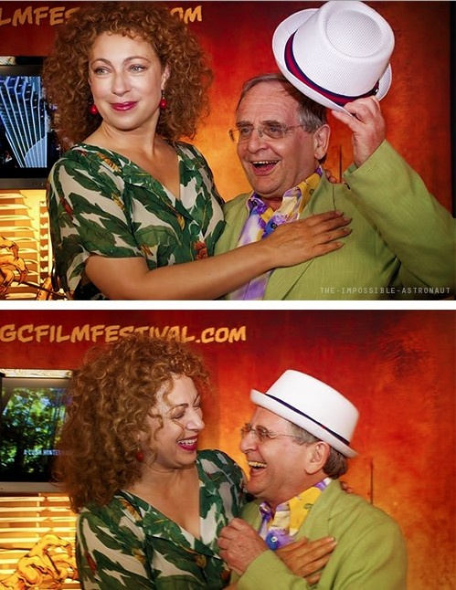 Alex Kingston and Sylvester McCoy -- or is it River and the 7th Doctor?