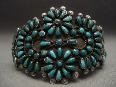 One of the Oldest Vintage Zuni/Navajo Turquoise Silver Bracelet