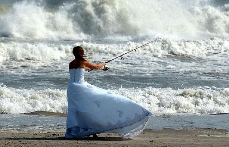 Fishing: The Perfect Bride. Anya lets get our dresses out and get a fishing picture like this!!!!!!!!!!!!!!!!!!!!!!! LOVE IT!