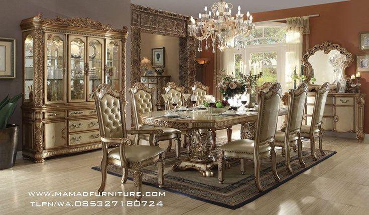 Jepara Furniture Ukiran Jati Set Meja Makan Mewah Ukir Jepara Klasik Modern Meja Makan Ukir Jepara Dengan Konsep Ukiran Jepara Mewah Dengan Finising Silver Leaf