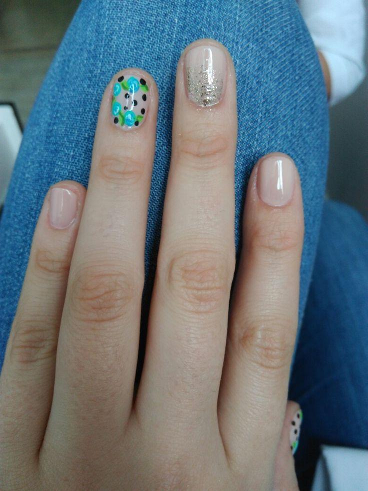 #nailart #naildesing #flowers #nude #blue #lightcolors