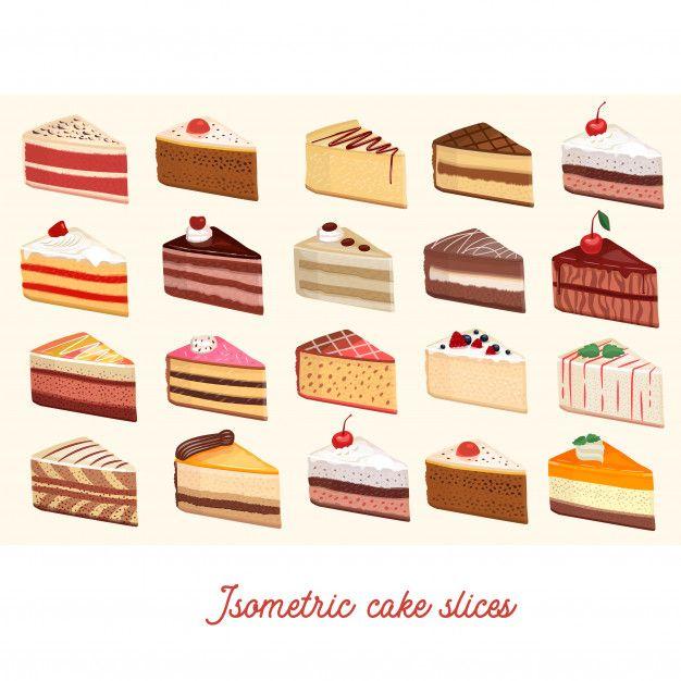 Isometric Cake Slices Desserts Drawing Cake Drawing Cake Illustration