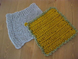 very soft knitted face cloth and very coarse crocheted scourer