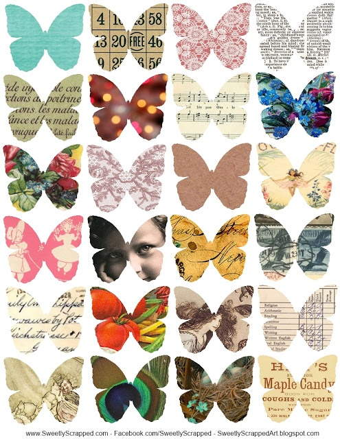 Free printable collage sheet....could also do this with butterfly templates and paper scraps. #printables #free #collage #sheets