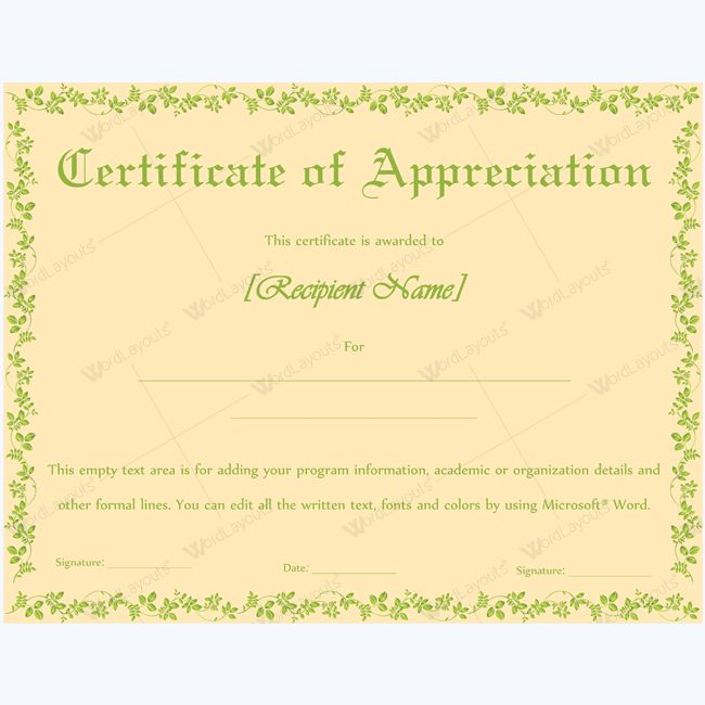26 best Certificate of Appreciation Templates images on Pinterest - certificate of appreciation wording examples
