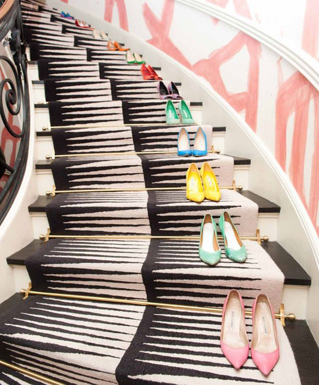 Stairway with shoe collection by Kelly Wearstler, Top Interior Designer 2017