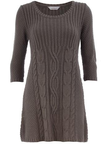 Petite grey cable knit dress
