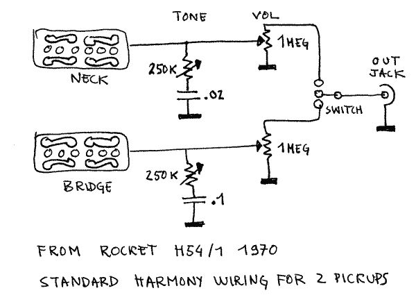 harmony standard wiring for 2 pickups guitars guitar schematic  harmony guitar wiring diagrams #2