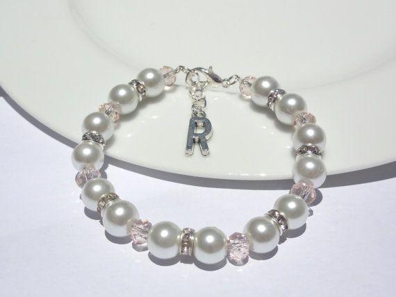 Personalized Letter Bracelet Flower Girl by Stunning Gems Jewelry Pink Wedding jewelry Wedding Jewelry Bridesmaid Jewelry Flower Girl Jewelry Bridesmaid Jewelry Gift Flower Girl Jewelry Gift