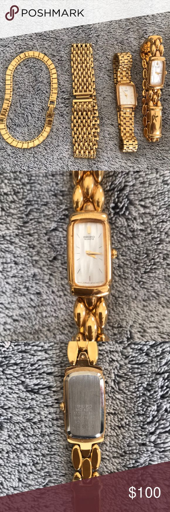 """Two Seiko gold tone ladies watches & two bracelets Two 7"""" vintage Seiko watches just need batteries and two gold tone Monet bracelets. Can sell separately if you would like SEIKO Jewelry"""