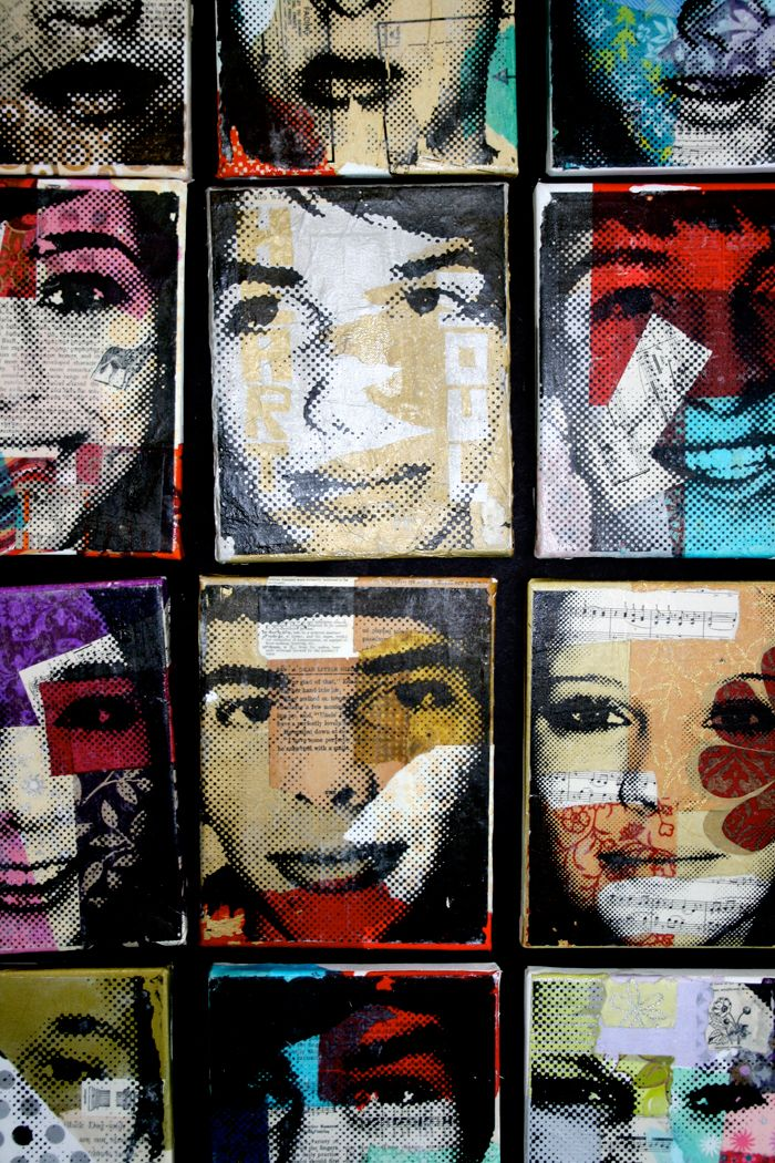 Transparency self-portrait over mixed-media collage6th grade self portrait idea