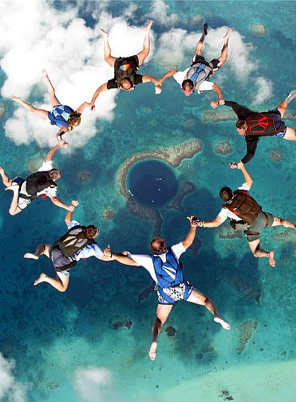 The Great Blue Hole is a large underwater sinkhole off the coast of Belize. The hole is circular in shape, over 300 metres (984 ft) across and 124 metres (407 ft) deep. It was formed during several episodes of Quaternary glaciation when sea levels were much lower – the analysis of stalactites found in Great Blue Hole shows that formation has taken place 153,000; 66,000; 60,000; and 15,000 years ago. As the ocean began to rise again, the caves were flooded.
