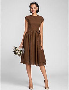 Lanting na altura do joelho vestido de chiffon dama de honra - mais tamanhos marrom / petite A linha de Jewel