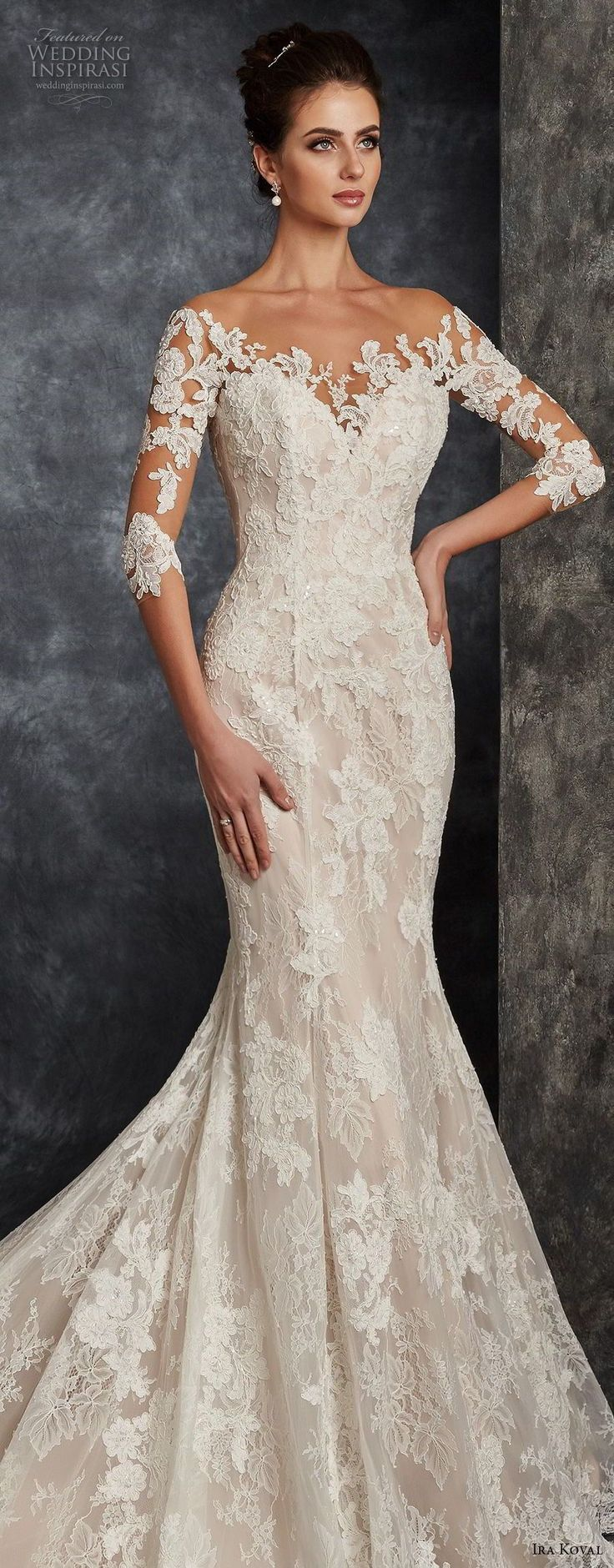 ira koval 2017 bridal three quarter sleeves sweetheart neckline full lace embell…