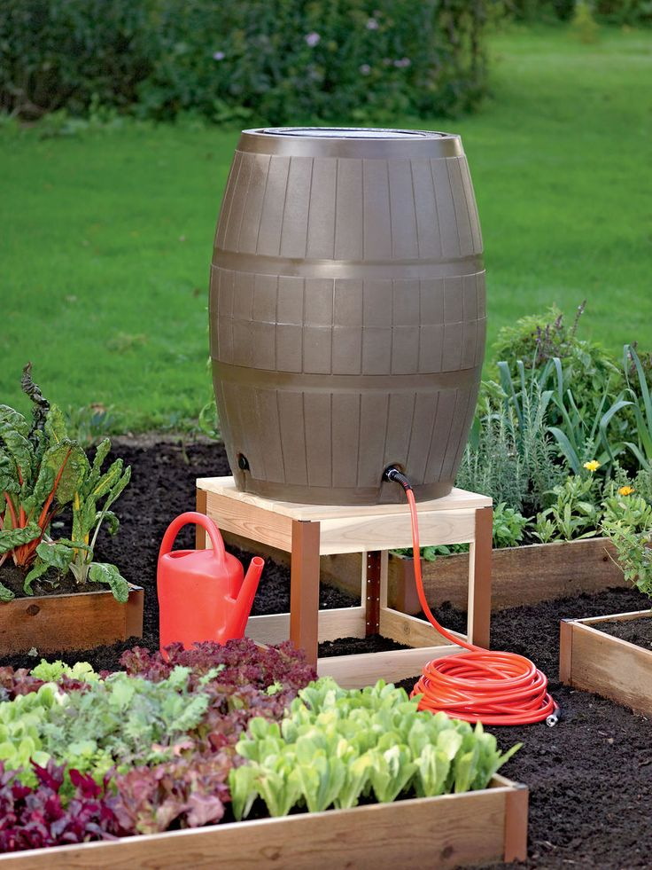 Rain Barrel Stand in Cedar | Gardener's Supply