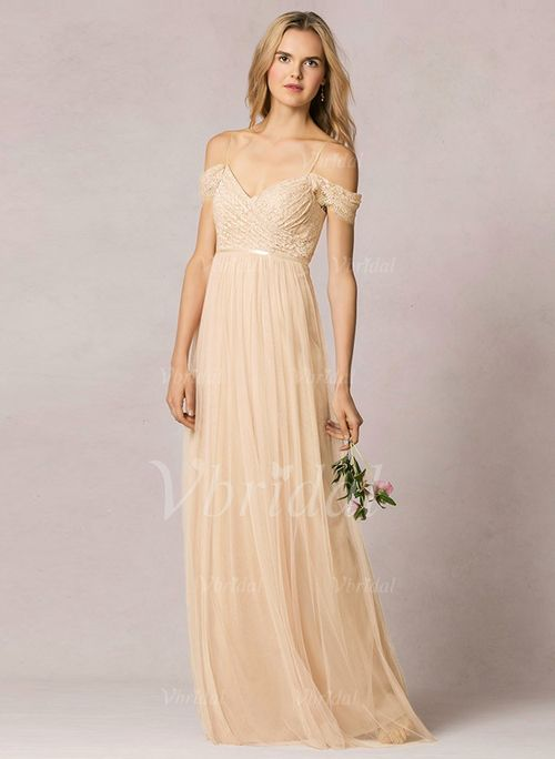 Bridesmaid Dresses - $143.06 - A-Line/Princess Off-the-Shoulder Floor-Length Tulle Bridesmaid Dress (0075099375)