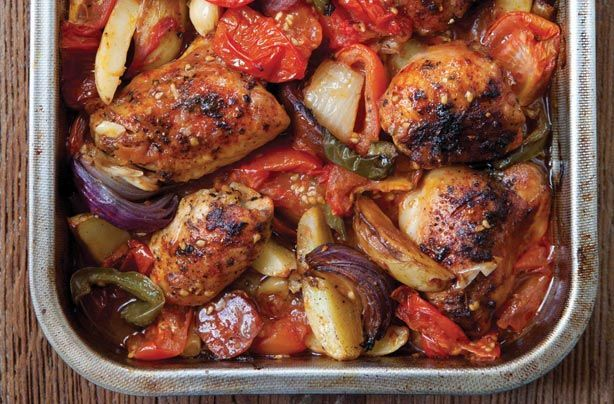 Hairy Bikers' Spanish-style chicken bake. Syn the chorizo - basic chorizo sausage 9 syns for 75g