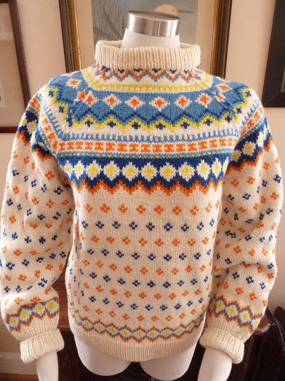 Norse Knit Sweater Hand Knitted in Norway All Wool  by wishto, $24.00