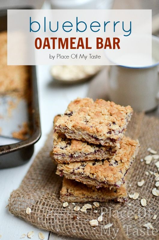 Blueberry Oatmeal Bar Recipe from placeofmytaste.com