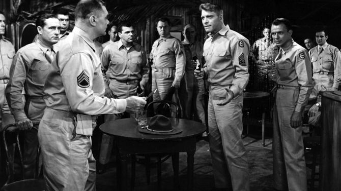 """Review: 'From Here to Eternity'  -  July 29, 1953:     The James Jones bestseller, """"From Here to Eternity,"""" has become an outstanding motion picture in this smash screen adaptation. It is an important film from any angle, presenting socko entertainment for big business. The cast names are exceptionally good, the exploitation and word-of-mouth values are topnotch, and the prospects in all playdates are very bright whether special key bookings or general run."""
