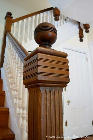 A blog about restoring an old Victorian house. Our stairway, spindles and newel post.