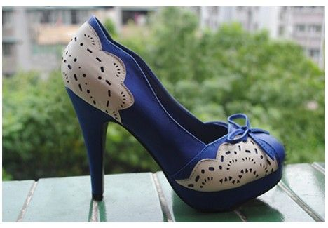 Design Special Waterproof High Heel Shoes Blue