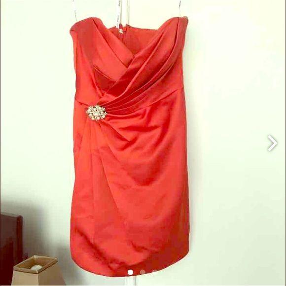 Beautiful orange formal dress!! Only worn one time in a wedding ! David's Bridal Dresses Mini