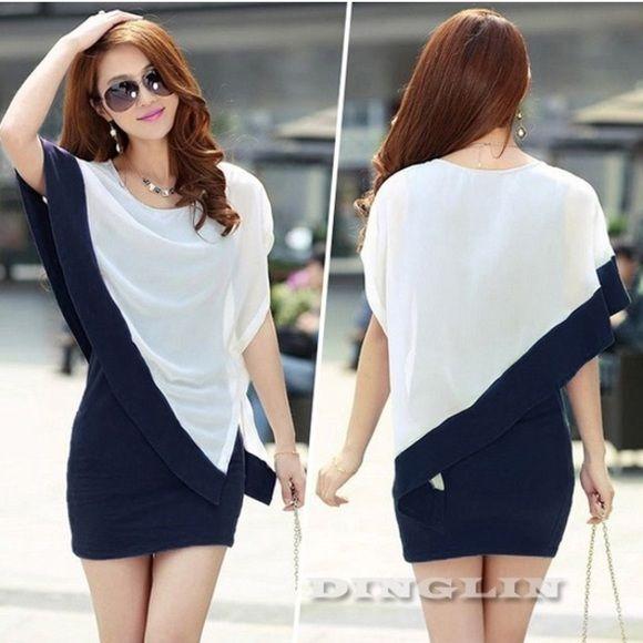 💕batwing chiffon blue/white dress💕 Blue and white bodycon dress with chiffon batwing sleeves Dresses
