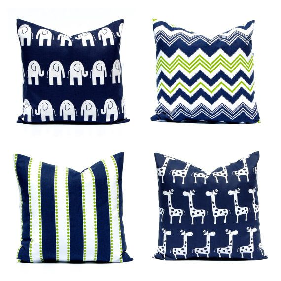 One euro sham decorative chevron pillow cover in navy blue and chartreuse green on white. These coordinates are gorgeous!