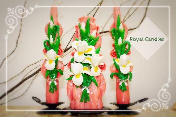 Set of carved candles handmade White irises от RoyalCarvedCandles
