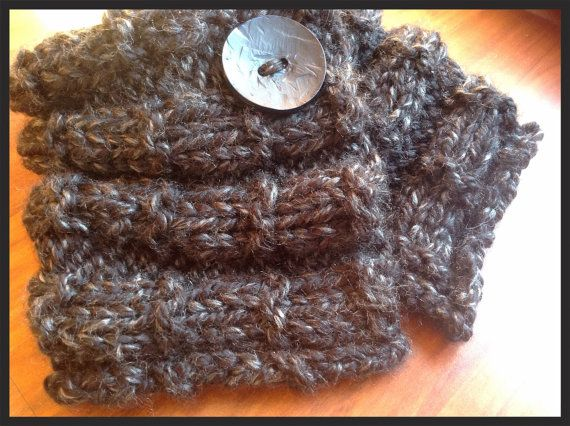 Cowl Hand knitted neck warmer button by RTMDesigns on Etsy