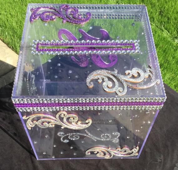Wow Your Guests With This Glimmering Eye Catching Bling Wedding Card Box This Clear Acrylic Card Box Is Decorated Wi Card Box Wedding Custom Card Box Card Box