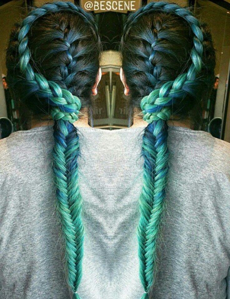 Green braided dyed hair