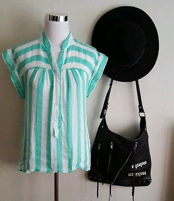 Plenty by Tracy Reese striped linen cotton popover top blouse sz S $168
