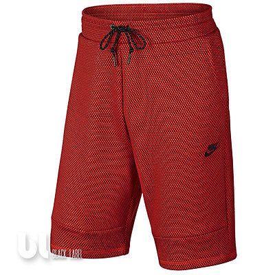 Nike Tech Fleece Printed Herren Sport Shorts Bermuda Hose Fitness Kurzehose Rot