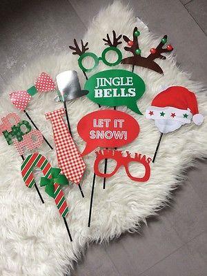 12 x Photo Weihnachten Party Time Props Maske Foto Feier Geburtstag Requisiten