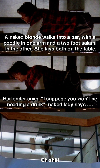 Bender falling through the roof. Supposedly there is no punchline to the joke because nobody could think of one -- The Breakfast Club