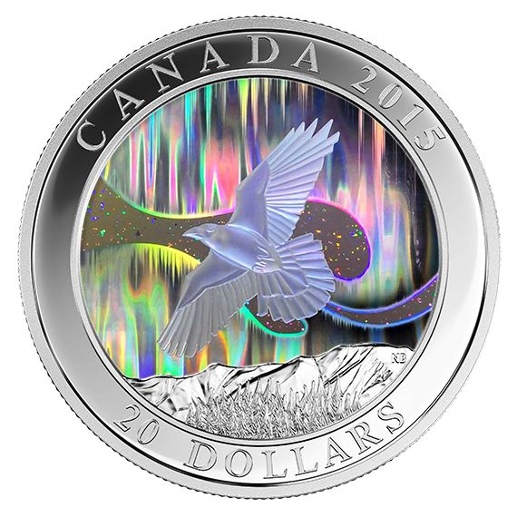 1 oz. Fine Silver Hologram Coin - A Story of the Northern Lights: The Raven - Mintage: 8,500 (2015)