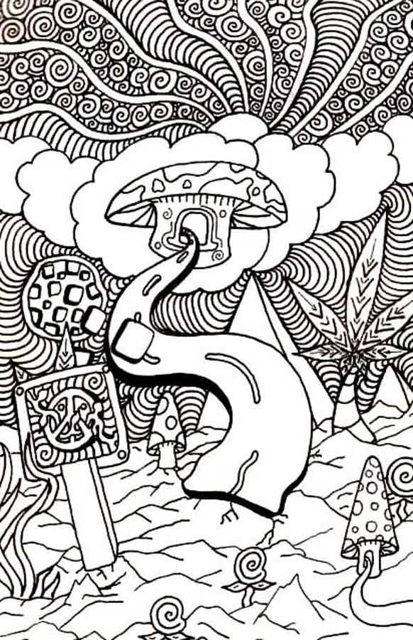 Trippy colouring pages mushroom enjoy coloring for Printable psychedelic coloring pages