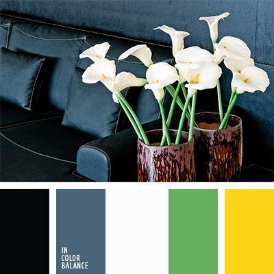 amarillo vivo, blanco y negro, color arsénico, color gris azulado, color gris oscuro, color verde grisáceo, combinación de colores para interiores, gris y verde, negro y amarillo, selección del color para el hogar, verde grisáceo y verde, verde vivo, verde y amarillo.
