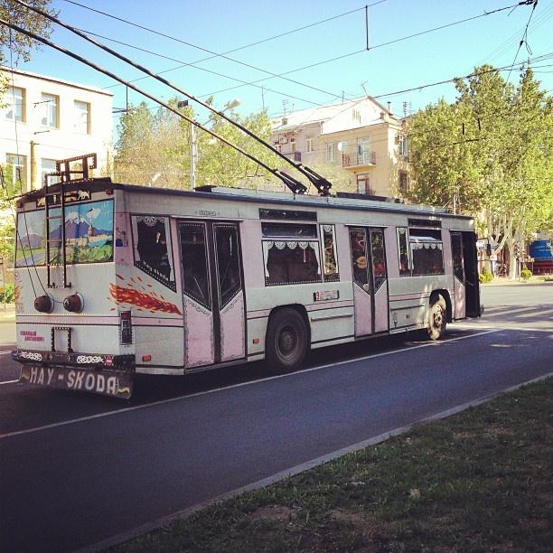 The Hay Skoda aka the local hippie tram spotted rolling along Moshtats street in yerevan armenia http://instagram.com/p/YxM5guORjv/