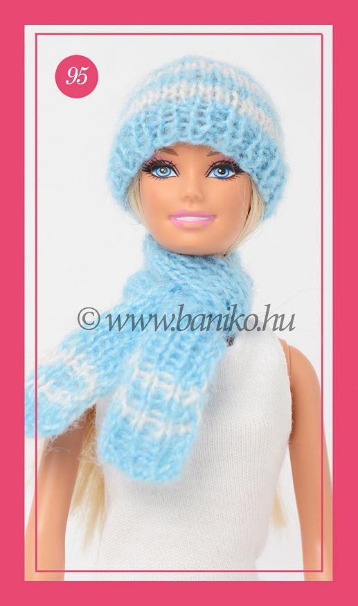 Kék-fehér csíkos, kötött Barbie sapka és sál