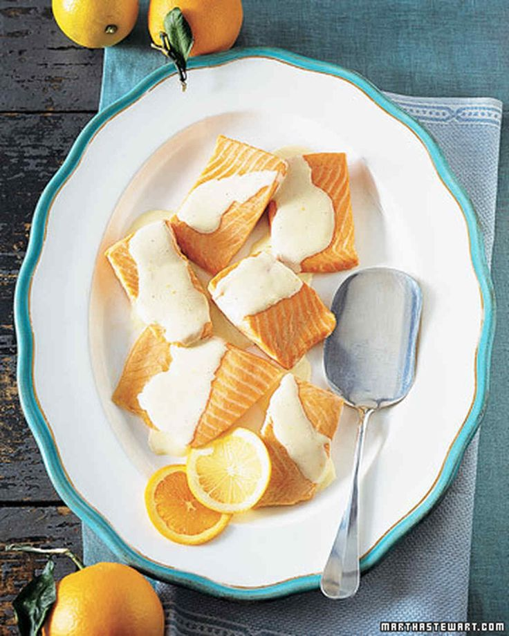 Salmon with Tangerine-Lemon Hollandaise Sauce | Martha Stewart Living - Give salmon an update by making this quick, easy sauce ahead of time.