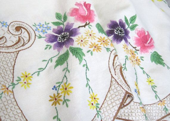 Vintage Hand Embroidered Linen Tablecloth and by TheWhistlingMan