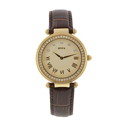 Reloj para Dama, tablero redondo, dorado, puntos + romanos, analogo, pulso cuero cafe