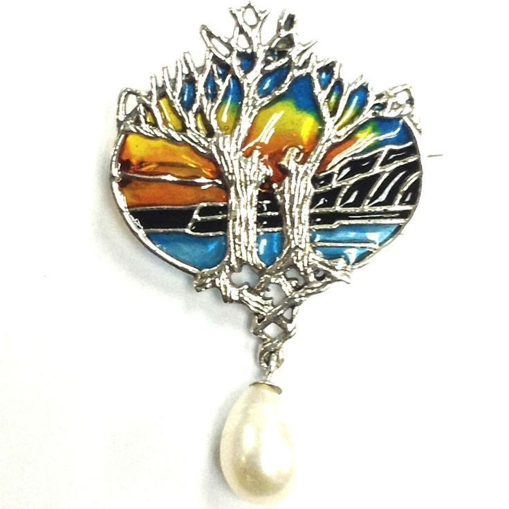 ART NOUVEAU PLIQUE A JOUR ENAMEL TREE OF LIFE SUNSET PENDANT BROOCH 925 SILVER in Jewellery & Watches, Fine Jewellery, Fine Necklaces & Pendants   eBay