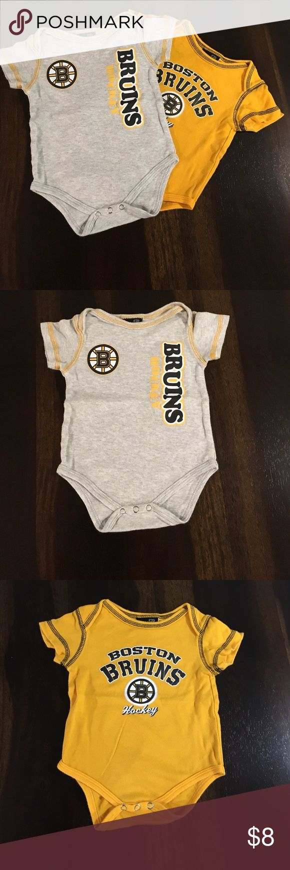 Bruins onesie 2pk Two Bruins onesies... great for you littlest hockey fan be it boy or girl!!! Normal wash wear. Comes from smoke free home! One Pieces Bodysuits