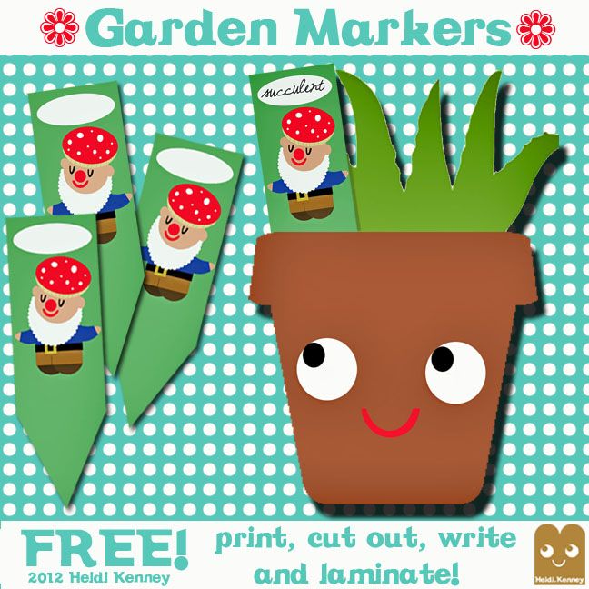 Gnome Garden Markers - free printables
