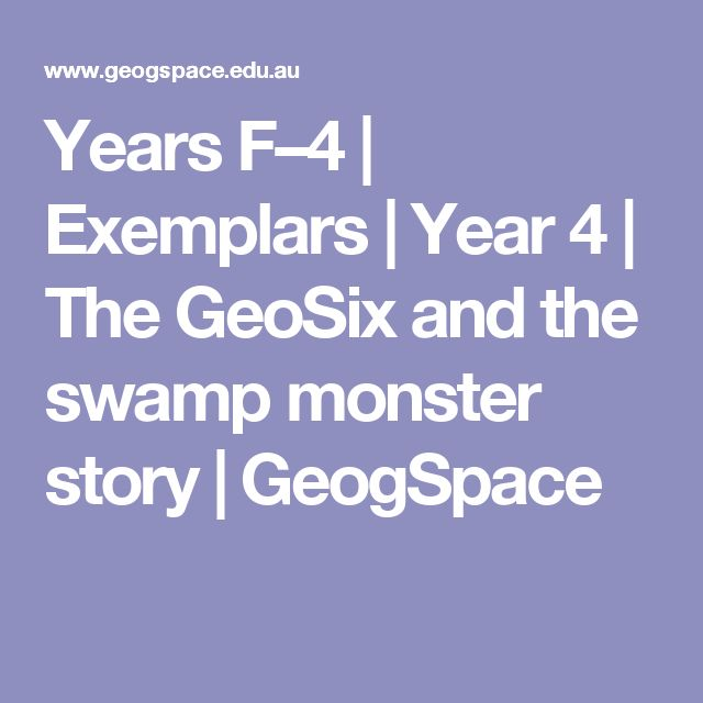 Years F–4   Exemplars   Year 4   The GeoSix and the swamp monster story   GeogSpace