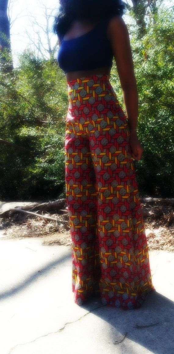 Breed been Afrikaanse print broek van NigerianHippie op Etsy